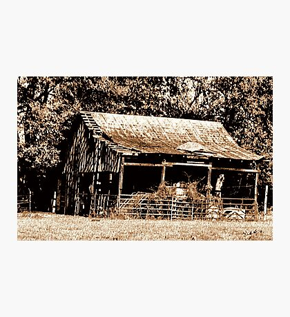 """""""Old Timer's Barn (B&W with a touch of brown)""""... prints and products Photographic Print"""