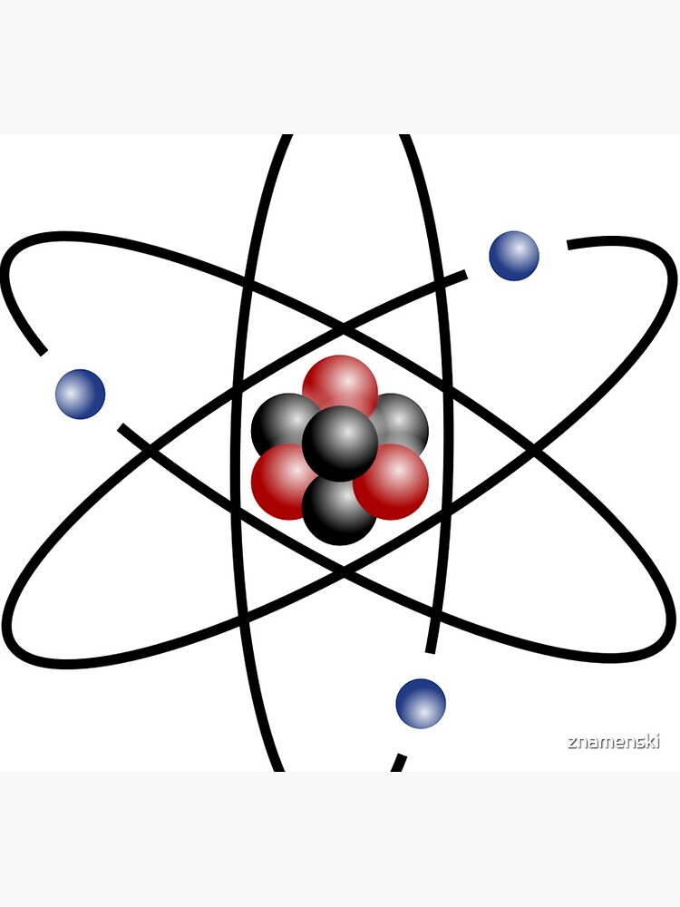 Stylized lithium-7 atom: 3 protons, 4 neutrons, and 3 electrons (total electrons are ~1⁄4300th of the mass of the nucleus). It has a mass of 7.016 Da. by znamenski