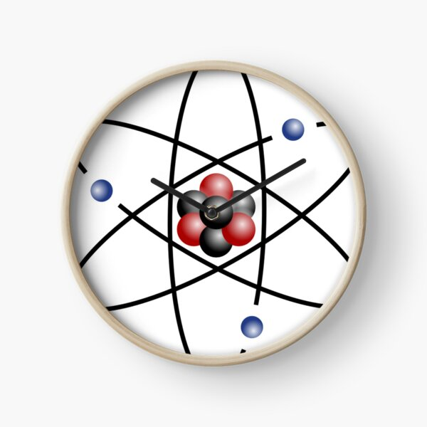 Stylized lithium-7 atom: 3 protons, 4 neutrons, and 3 electrons (total electrons are ~​1⁄4300th of the mass of the nucleus). It has a mass of 7.016 Da. Clock