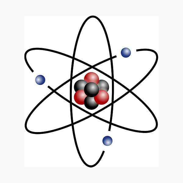 Stylized lithium-7 atom: 3 protons, 4 neutrons, and 3 electrons (total electrons are ~1⁄4300th of the mass of the nucleus). It has a mass of 7.016 Da. Photographic Print