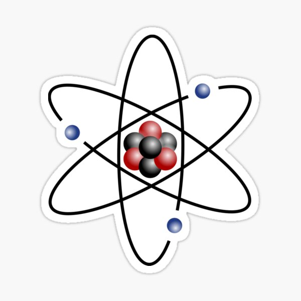 Stylized lithium-7 atom: 3 protons, 4 neutrons, and 3 electrons (total electrons are ~1⁄4300th of the mass of the nucleus). It has a mass of 7.016 Da. Sticker