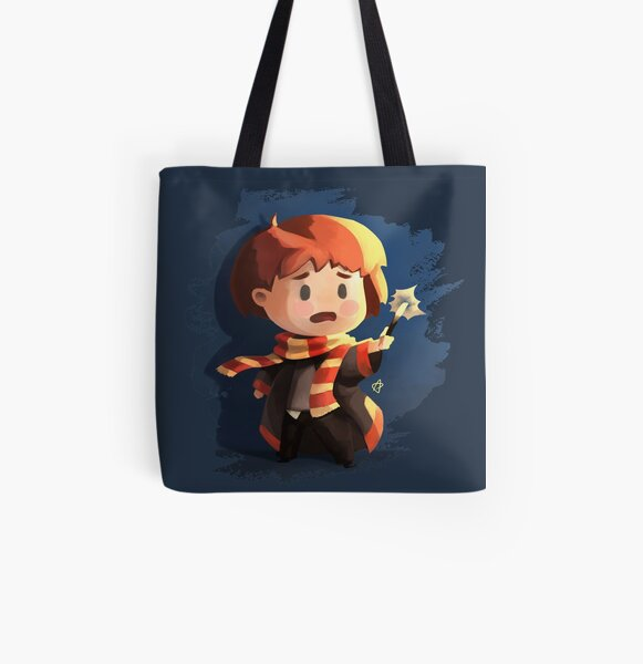 Chibi wizard with his magical wand All Over Print Tote Bag