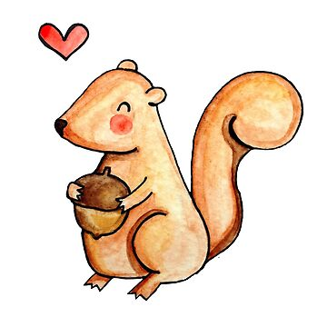 Squirrel Loves Acorn by ArtByHeather