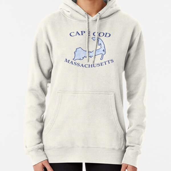 Preppy Vintage Blue Cape Cod Massachusetts Map  Pullover Hoodie