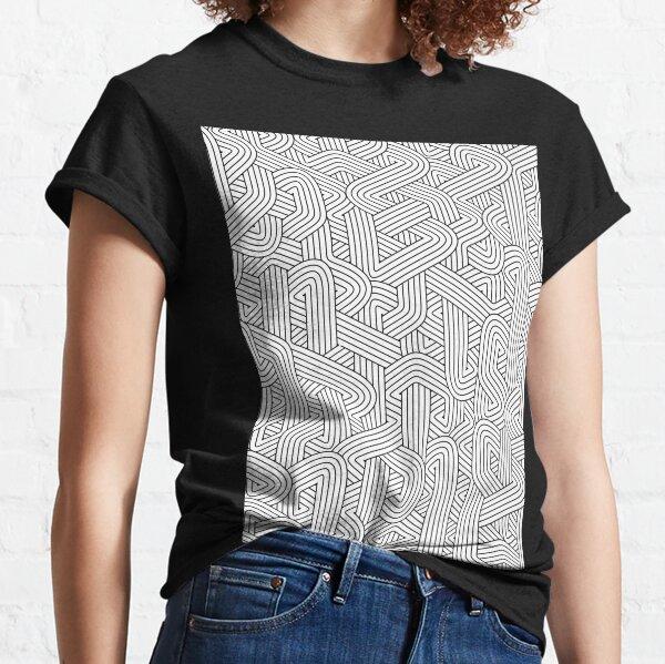 Abstract White Hexagon Bezier Truchet Tiles #3 Classic T-Shirt