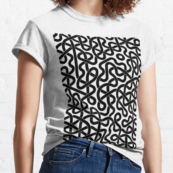 Abstract Black Hexagon Truchet Tiles #2 Classic T-Shirt