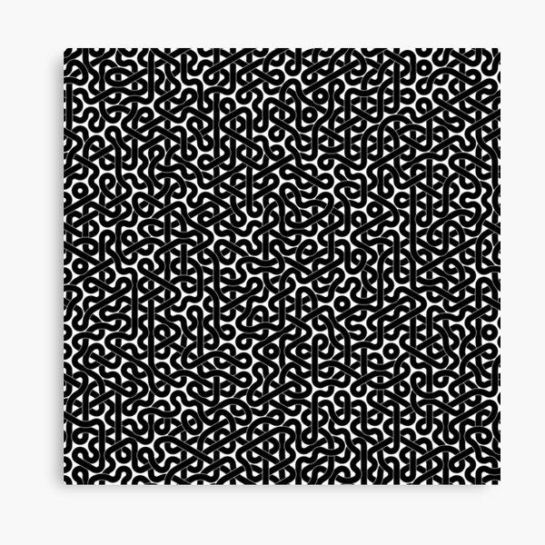 Abstract Black Hexagon Truchet Tiles #3 Canvas Print