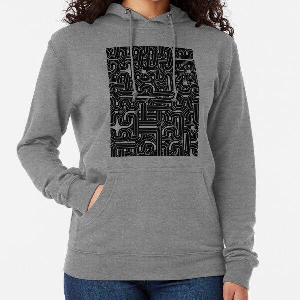 Abstract Black Hexagon Bezier Truchet Tiles #1 Lightweight Hoodie