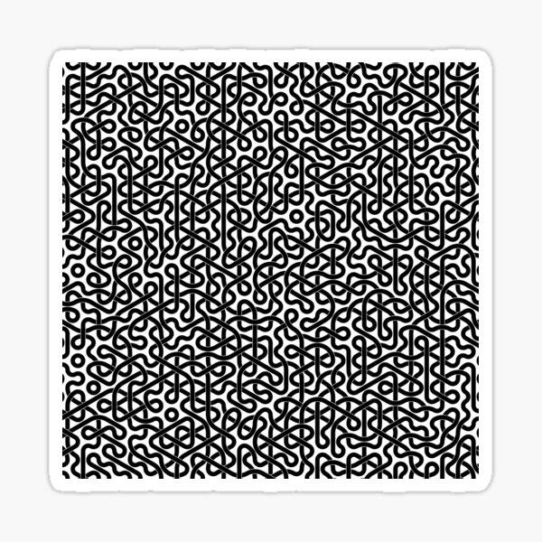 Abstract Black Hexagon Truchet Tiles #2 Sticker