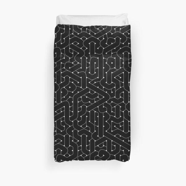 Abstract Black Hexagon Bezier Truchet Tiles #2 Duvet Cover