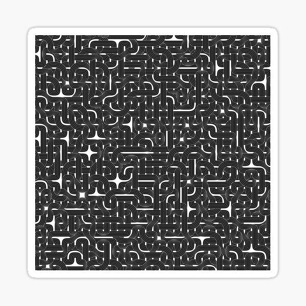 Abstract Black Hexagon Bezier Truchet Tiles #1 Sticker