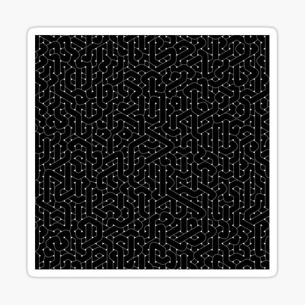 Abstract Black Hexagon Bezier Truchet Tiles #2 Sticker