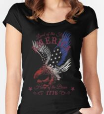 America - Land of the Free, Home of the Brave Quote Women's Fitted Scoop T-Shirt