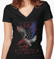 America - Land of the Free, Home of the Brave Quote Women's Fitted V-Neck T-Shirt