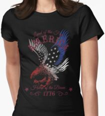 America - Land of the Free, Home of the Brave Quote Womens Fitted T-Shirt