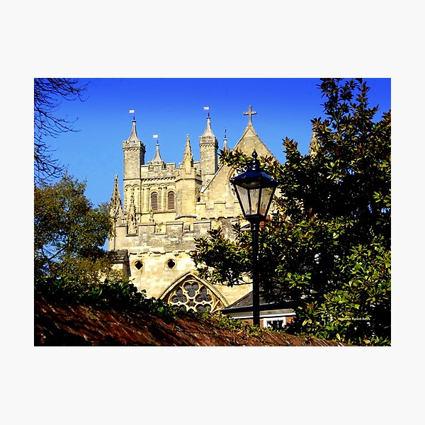 A Glimpse of Exeter Cathedral Photographic Print