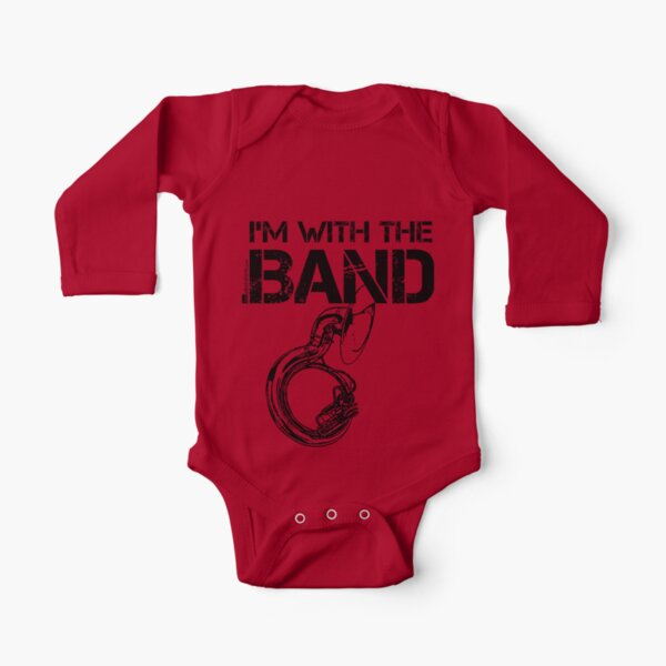 I'm With The Band - Sousaphone (Black Lettering) Long Sleeve Baby One-Piece