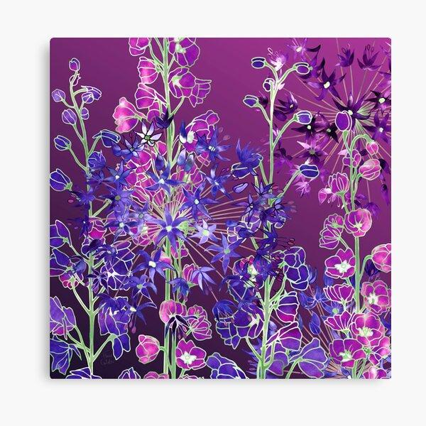 Delphiniums & Alliums - Purple Flowers Canvas Print