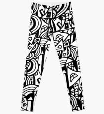 Black and white seamless pattern town houses with doodles.  Leggings