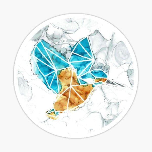 Alcohol ink geometric kingfisher round Sticker