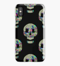 Colorful skulls on black background - seamless pattern.  iPhone Case