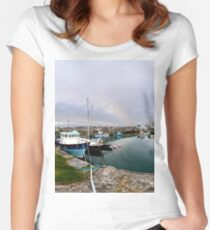 Hurry Head Harbour, Carnlough, County Antrim Women's Fitted Scoop T-Shirt