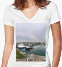 Hurry Head Harbour, Carnlough, County Antrim Women's Fitted V-Neck T-Shirt