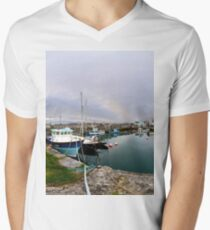 Hurry Head Harbour, Carnlough, County Antrim Men's V-Neck T-Shirt
