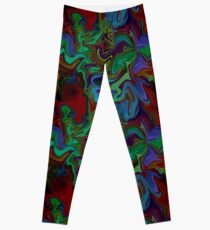 Marble texture in greens and reds Leggings