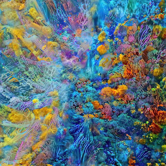 Deepdream marine floral fractalize space abstraction