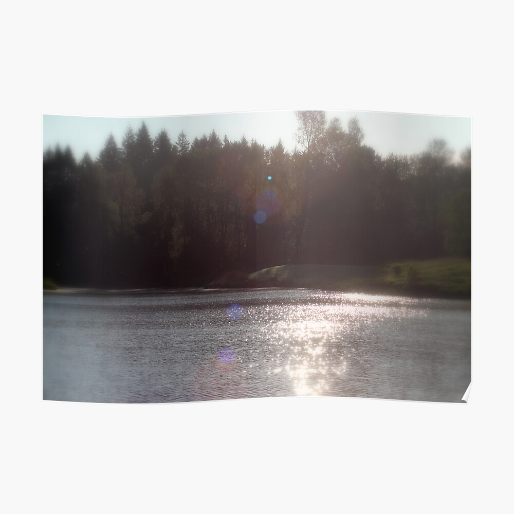 view across Trojan pond, near Goble, Oregon with flare Poster