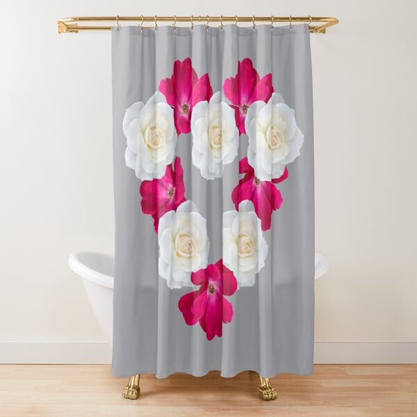 Rose Heart Ultimate Gray Shower Curtain