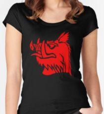 Camiseta entallada de cuello ancho Jabalí negro