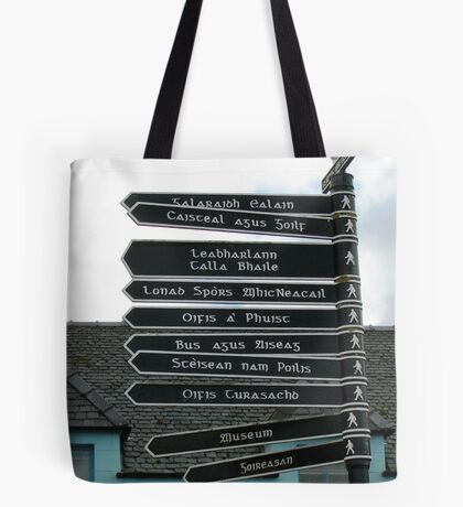 Signpost in Gaelic, Stornoway, Isle of Lewis, Scotland Tote Bag