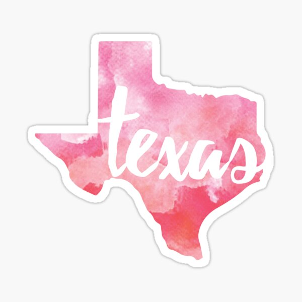 Texas - pink watercolor Sticker