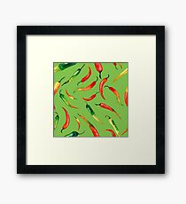 - Chilli pattern (green) - Framed Print