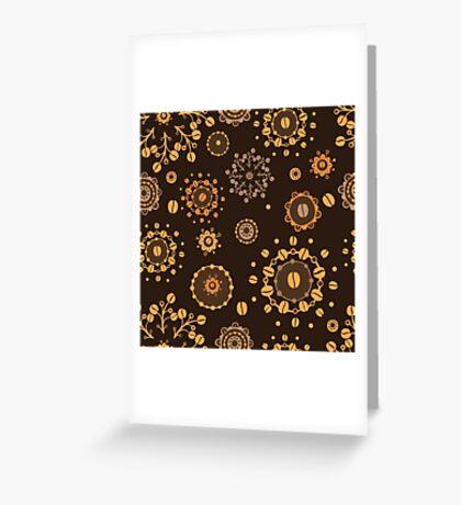- Coffee pattern - black - Greeting Card