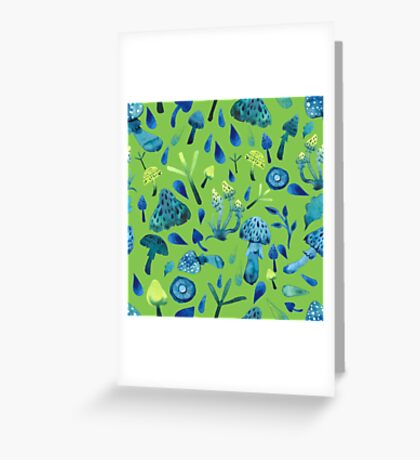 - Mushroom pattern (green) - Greeting Card