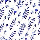- Blue ink plants pattern - by Losenko  Mila