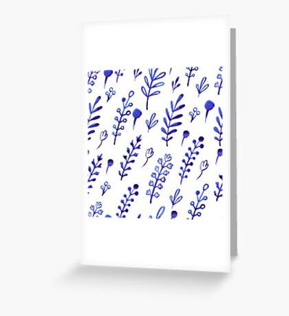 - Blue ink plants pattern - Greeting Card