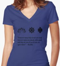 Lotus Flower, Dharma Wheel, and Endless Knot Women's Fitted V-Neck T-Shirt