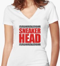 Sneakerhead - Fire Red Cement Women's Fitted V-Neck T-Shirt