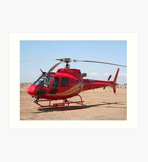 Helicopter, red, aircraft Art Print