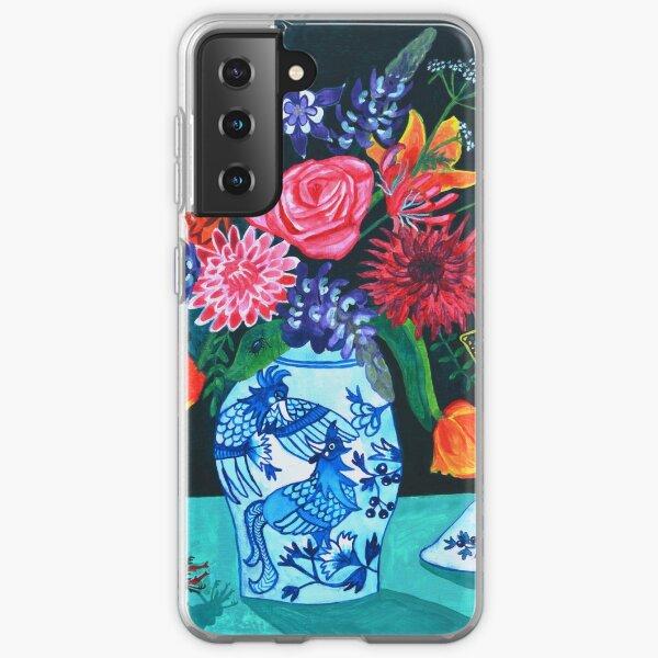 Love Birds - Blue White Chinoiserie Samsung Galaxy Soft Case