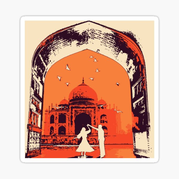 Gateway dancing with temple silhouette Sticker