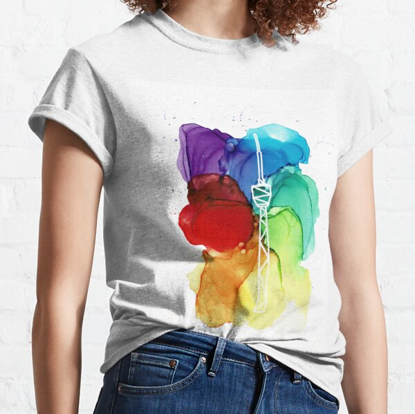Alcohol ink Stuttgart TV tower colorful Classic T-Shirt
