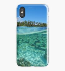 Tropical shore split with fish school underwater iPhone Case/Skin
