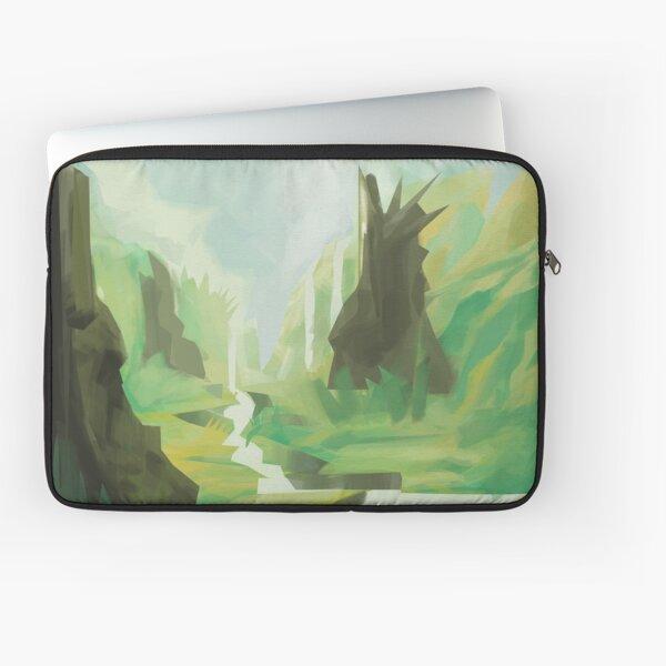 Dreamlike landscape with stone heads Laptop Sleeve