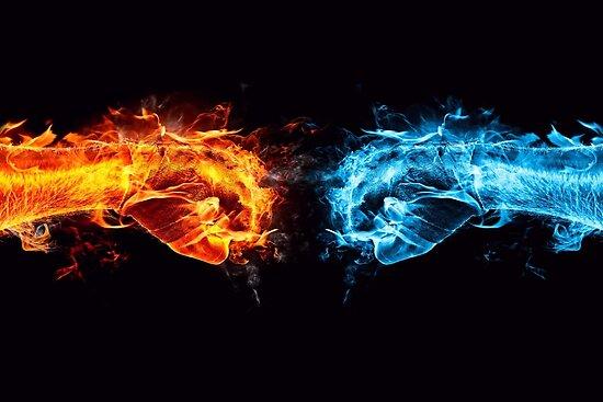 Feuer Wasser Zusammenstoß Poster Von Jaxtriple Redbubble