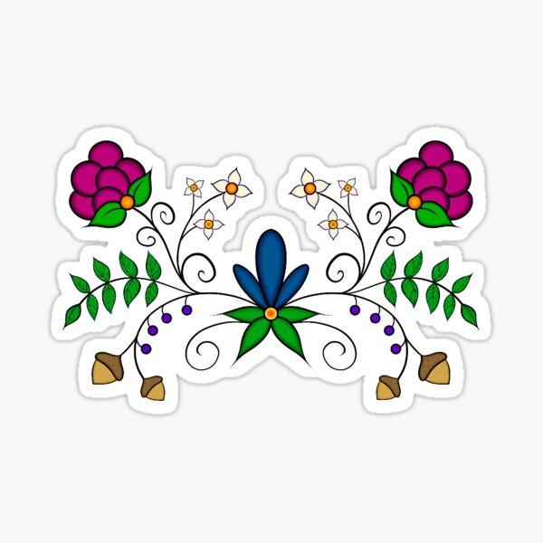Native American Indigenous Ojibwe Floral Botanical Digital Illustration Sticker